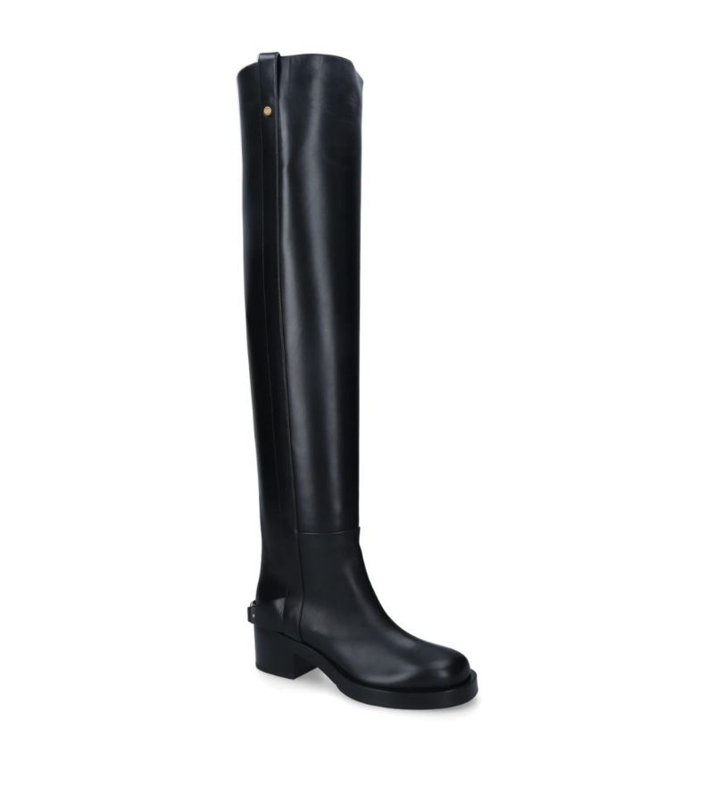 Valentino Valentino Garavani Vlogo Leather Over-The-Knee Boots 55