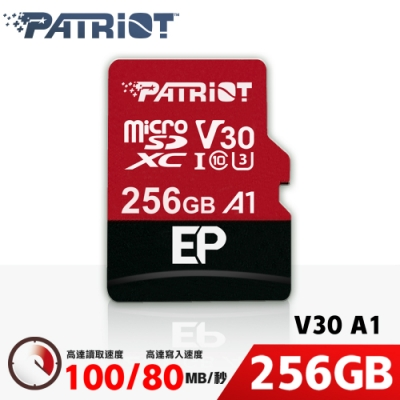 Patriot美商博帝 EP MicroSDXC UHS-1 U3 V30 A1 256G 記憶卡(PEF256GEP31MCX)