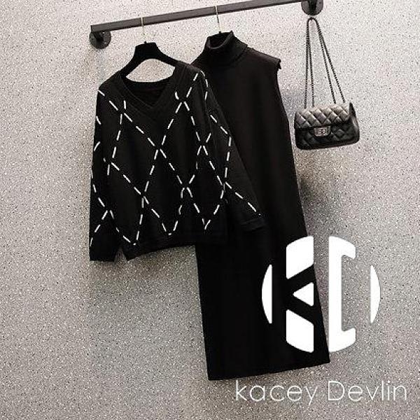大碼女裝毛衣針織打底裙兩件套裝【Kacey Devlin】