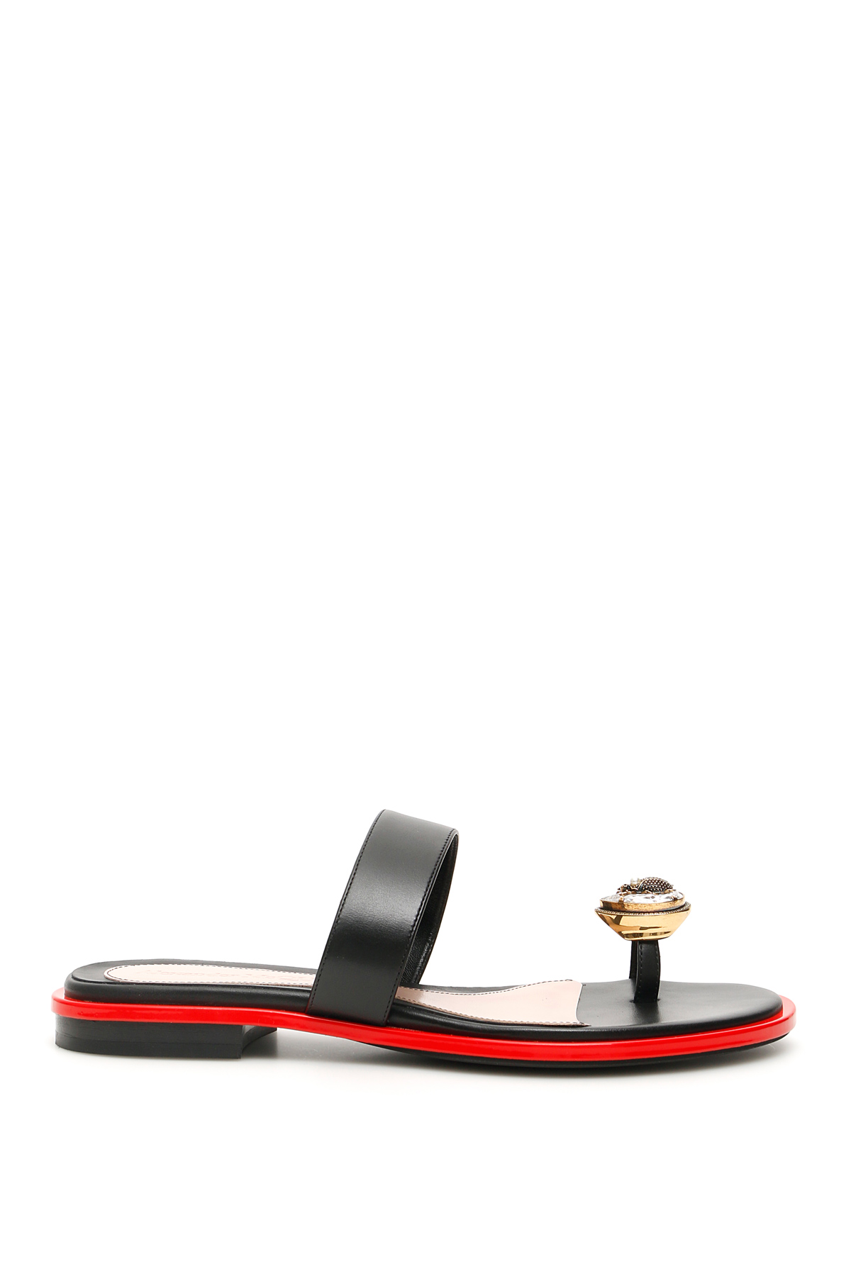 ALEXANDER MCQUEEN FLAT SANDALS WITH JEWEL 37 Black, Red Leather