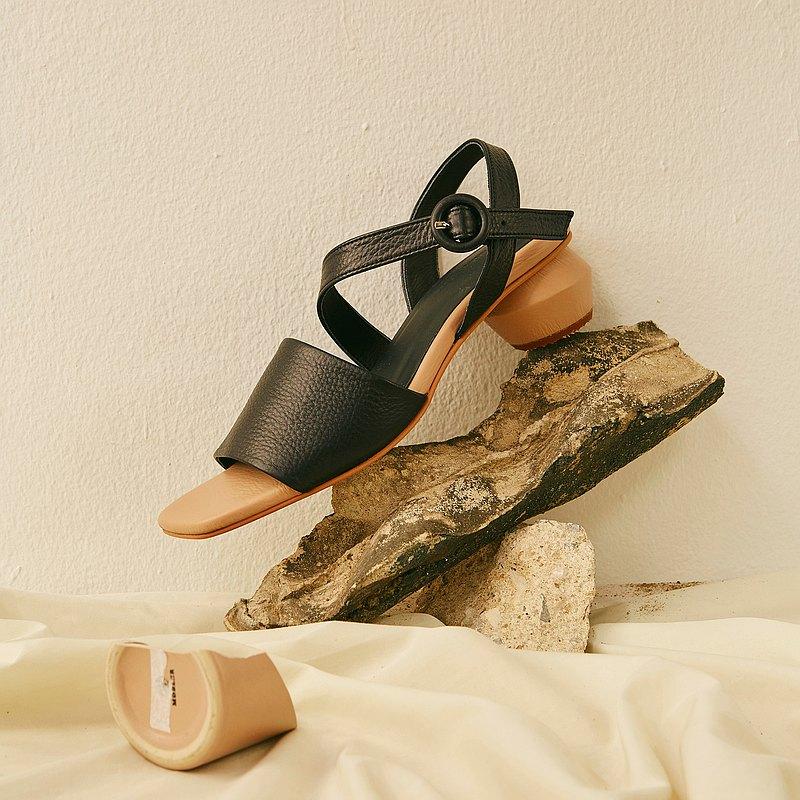 Black - BEETROOT Opentoe Heels