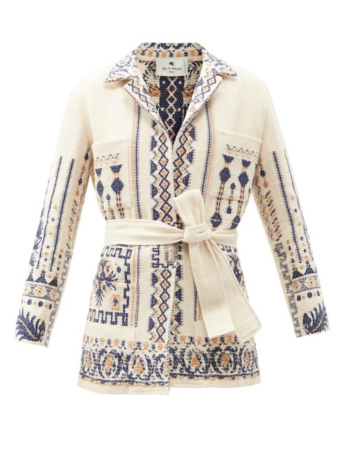 Etro - Palmaria Belted Wool-blend Jacket - Womens - Ivory Multi