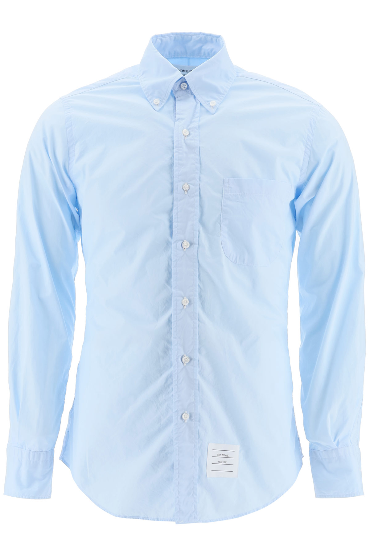 THOM BROWNE SHIRT WITH TRICOLOR BAND 0 Light blue Cotton