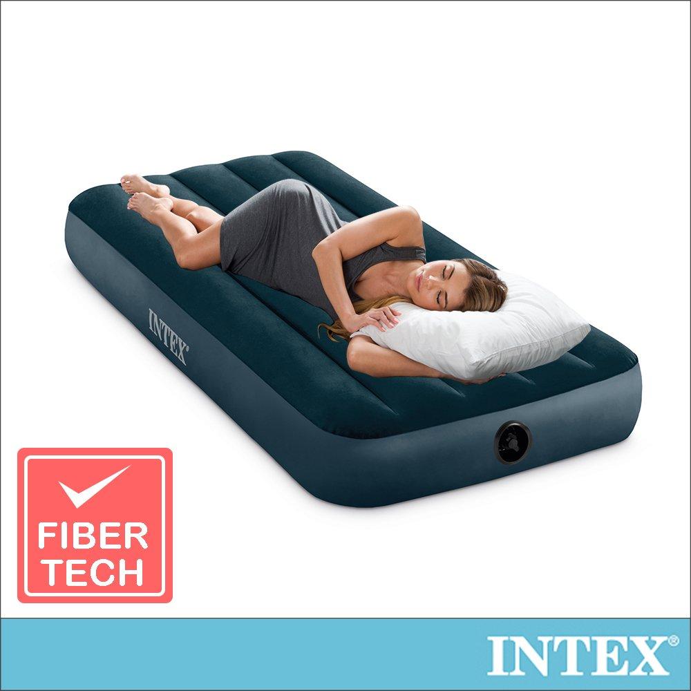 【INTEX】經典單人型(fiber-tech)充氣床墊(綠絨)-寬76cm(64106)