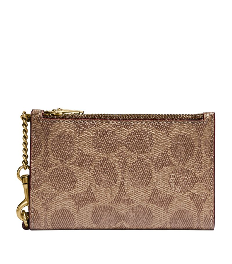 Coach Signature Canvas Zipped Card Holder