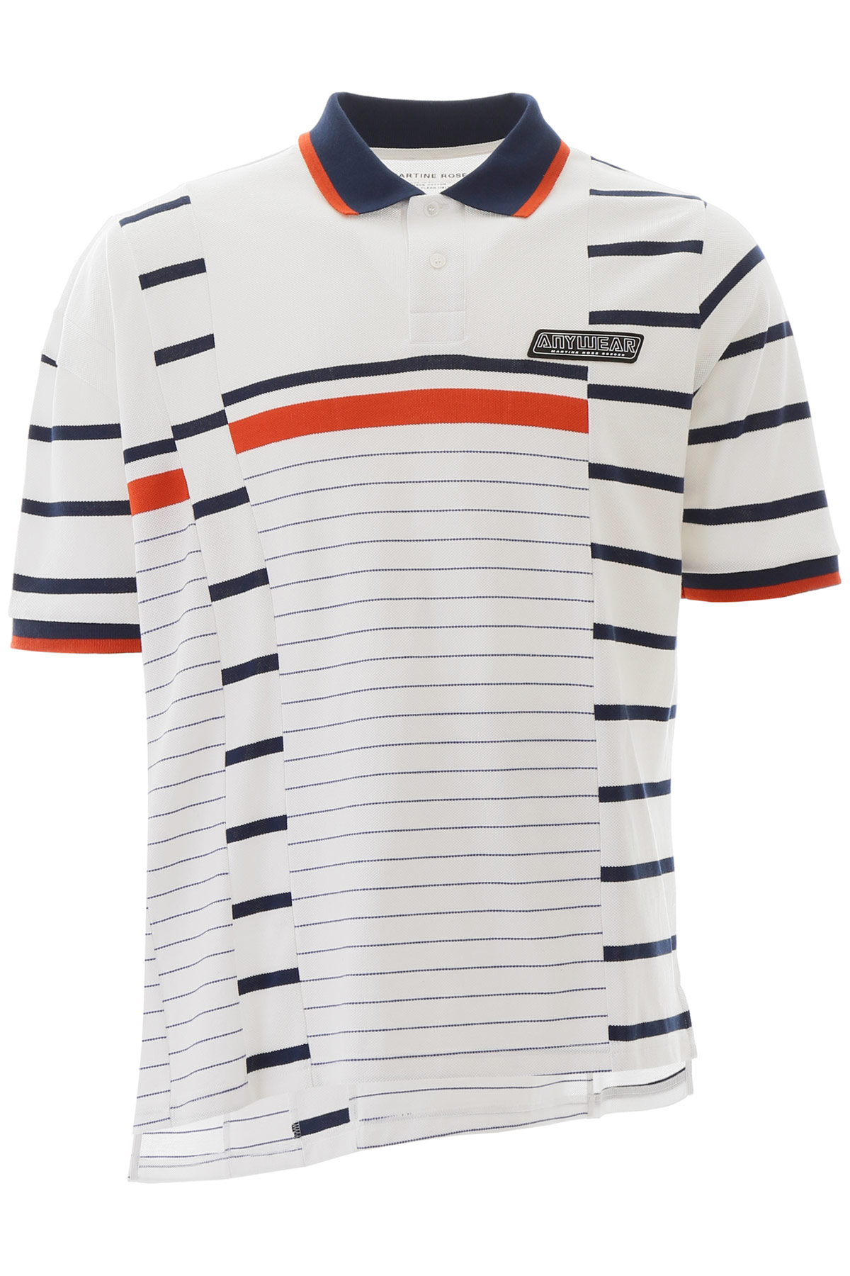 MARTINE ROSE STRIPED POLO SHIRT S Blue, White, Brown Cotton
