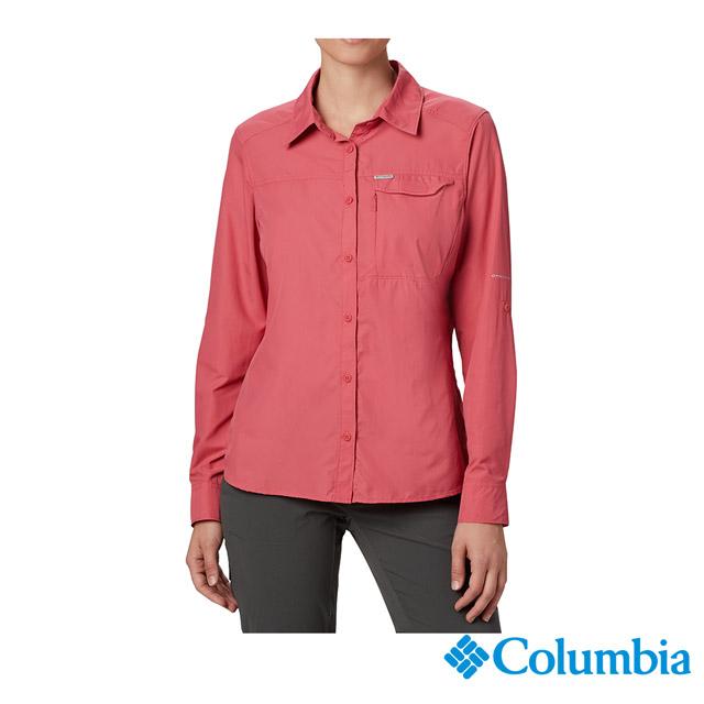 Columbia哥倫比亞 女款-UPF50快排素面長袖襯衫-桃紅 UAK26570FC