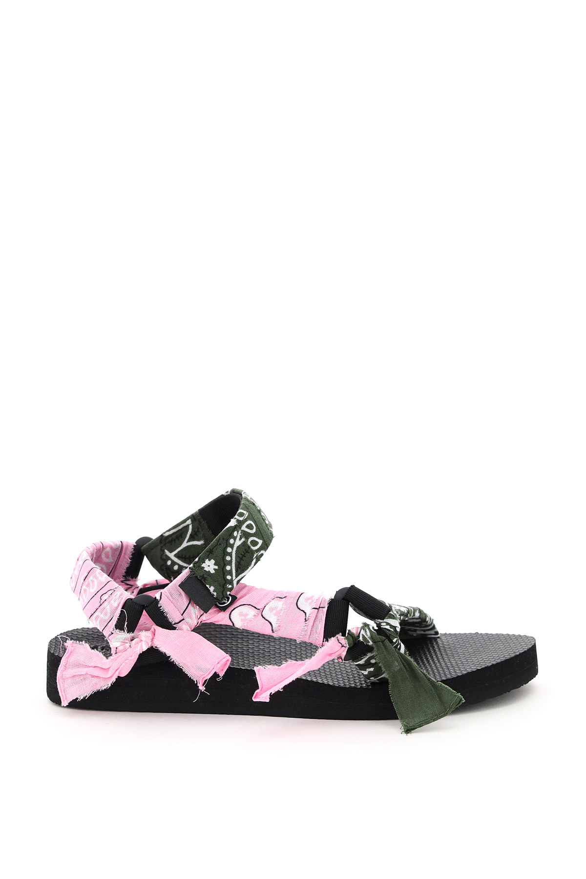 ARIZONA LOVE TREKKY BANDANA SANDALS 38 Khaki, Green, Pink Cotton