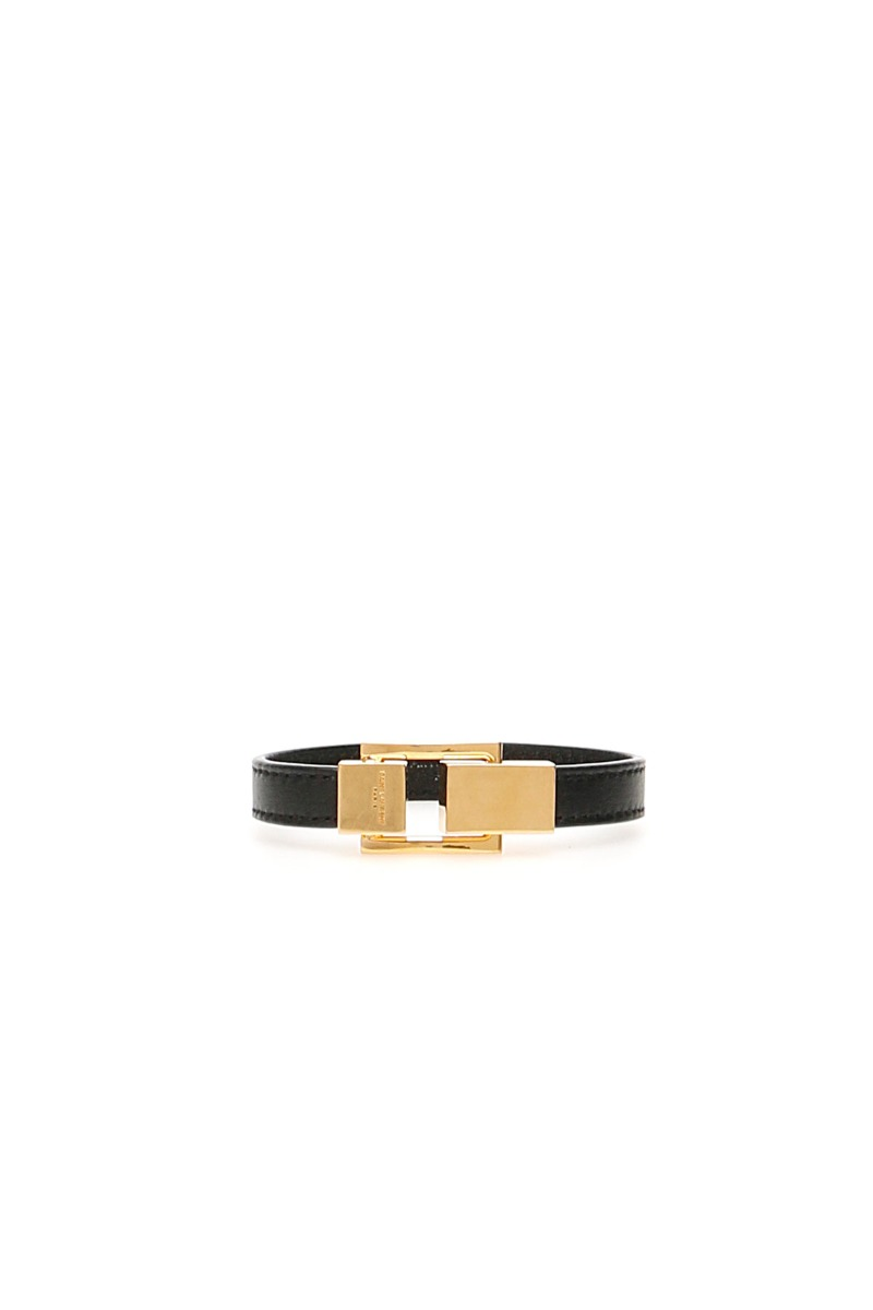SAINT LAURENT LEATHER YSL BRACELET S Black, Gold Leather