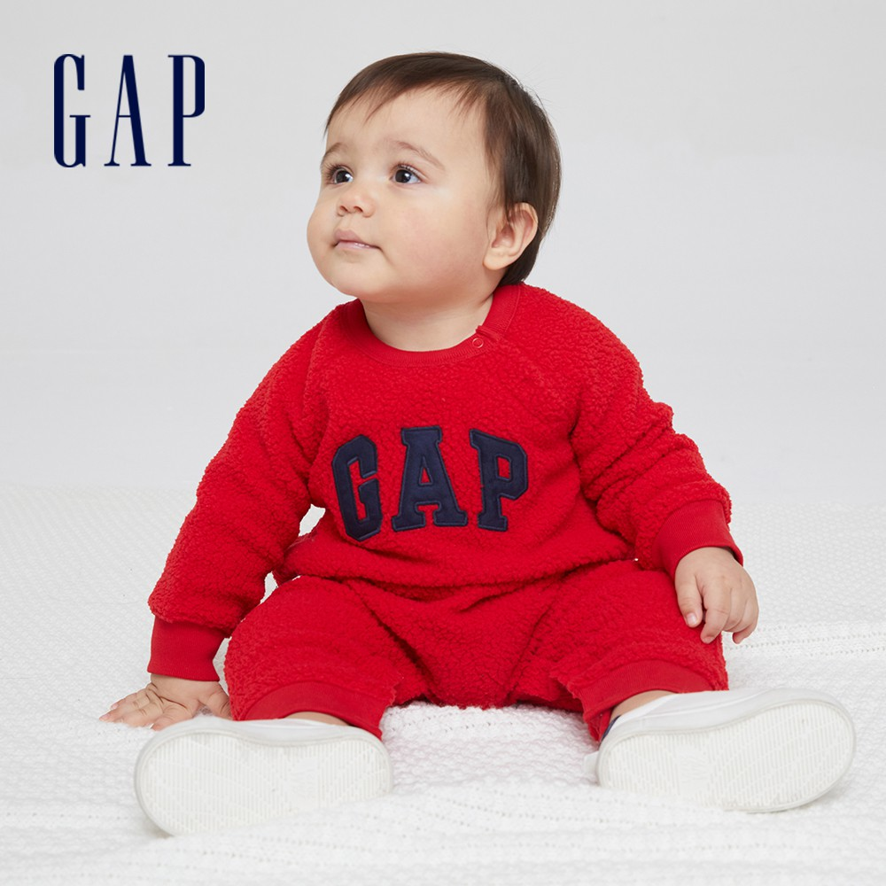 Gap 嬰兒 Logo仿羊羔絨長袖包屁衣 665534-紅色