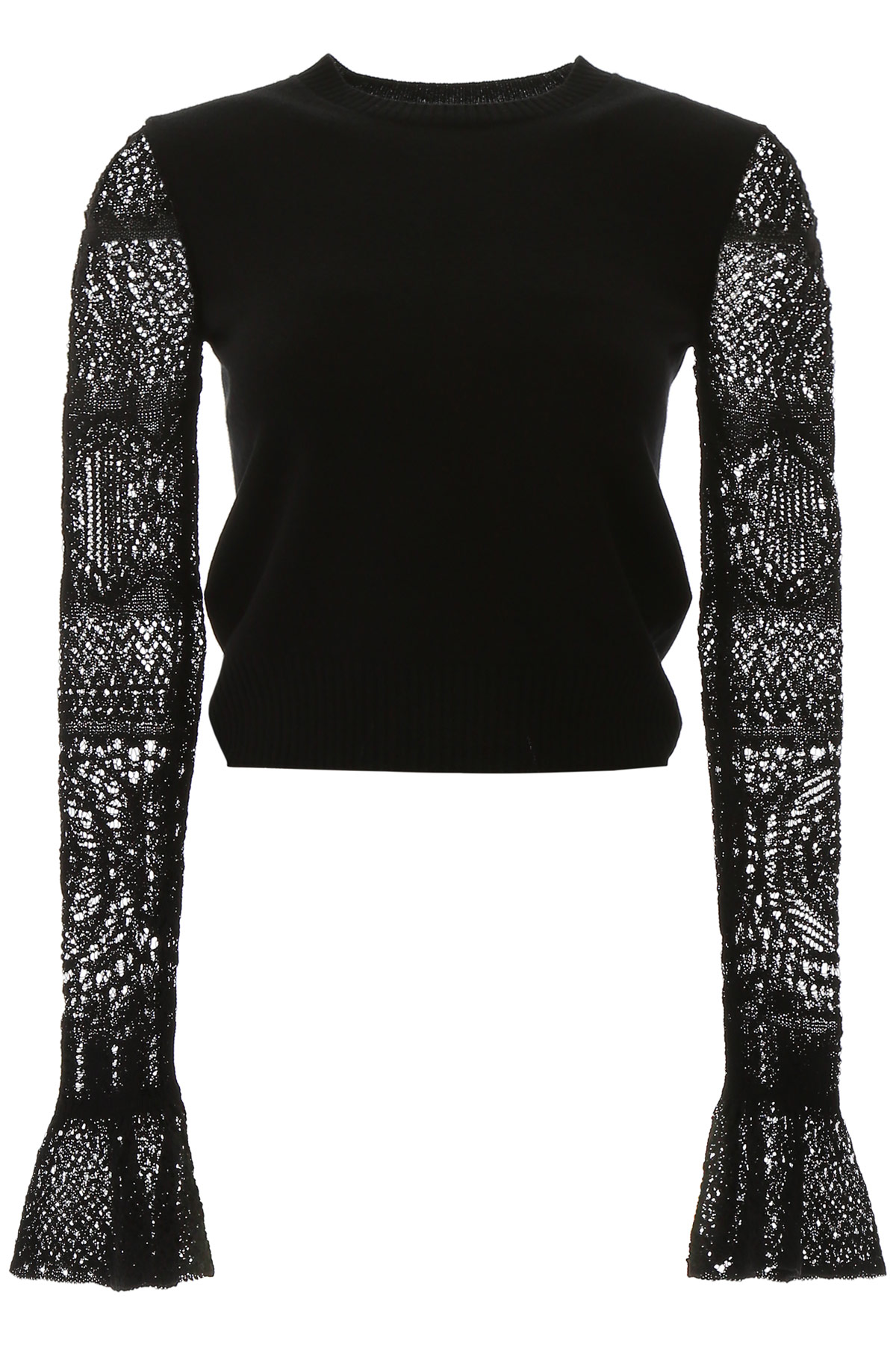 ALEXANDER MCQUEEN PULLOVER WITH CROCHET SLEEVES M Black Wool, Cotton