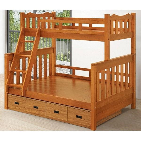 雙層床 FB-595-2 日傑夫樟木色雙層床 (不含抽屜盒) 【大眾家居舘】