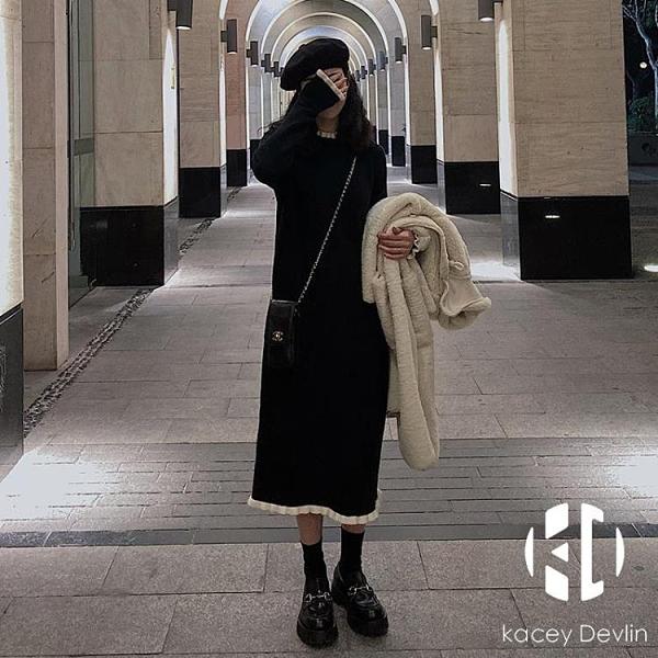 中長款打底毛衣裙針織連身裙女秋冬內搭過膝【Kacey Devlin】