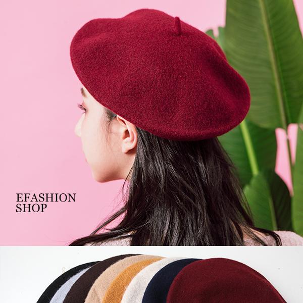★秋冬現貨★多色毛呢貝蕾帽-eFashion【L16586043】