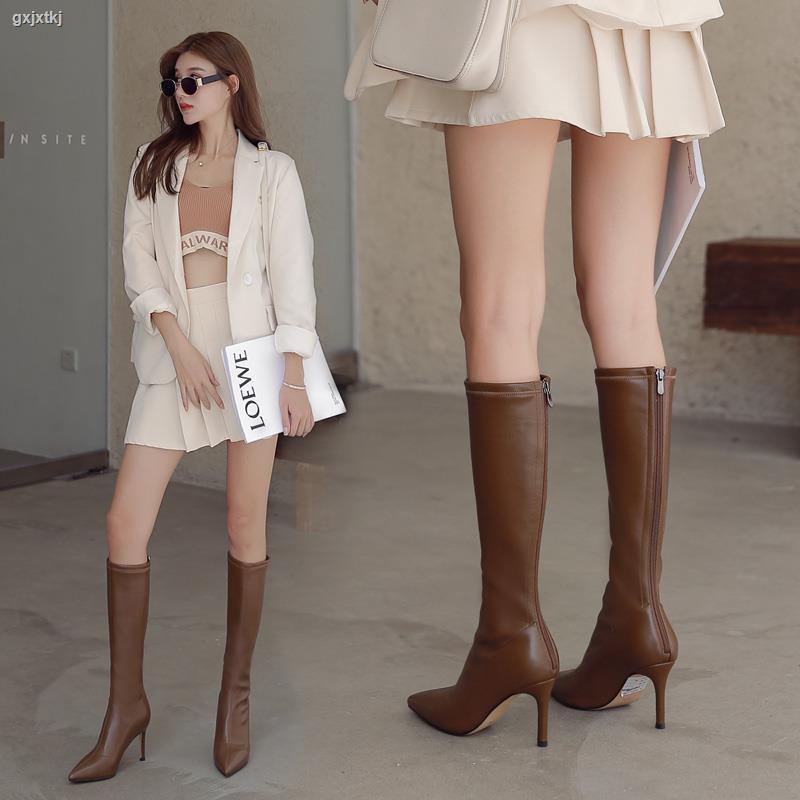 1222尖頭長靴女高跟春秋單靴棕色側拉鏈小個子瘦版彈力靴瘦瘦靴中筒靴