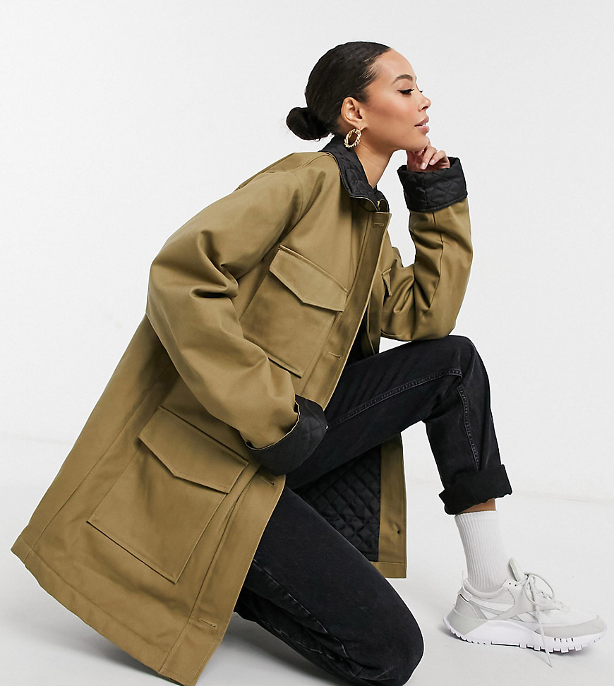 ASOS DESIGN Tall quilted collared shacket in stone-Neutral