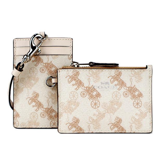 COACH 燙金馬車印花掛式2合1零錢票卡夾&證件夾(米白)