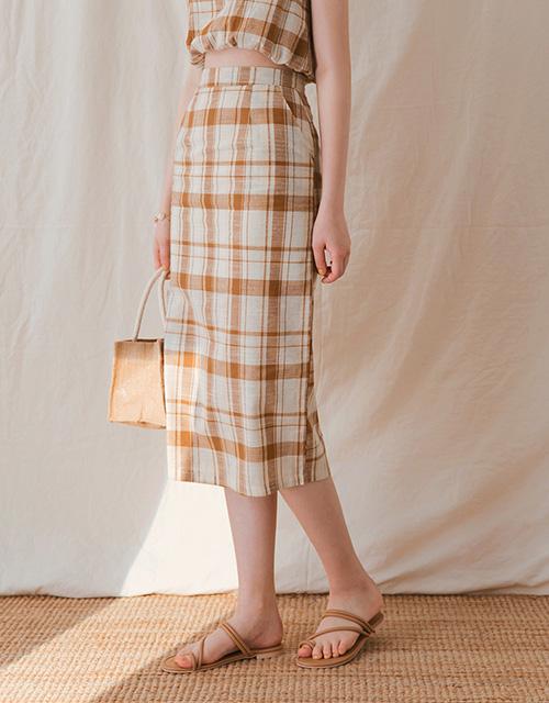 復古格紋修身直筒中長裙