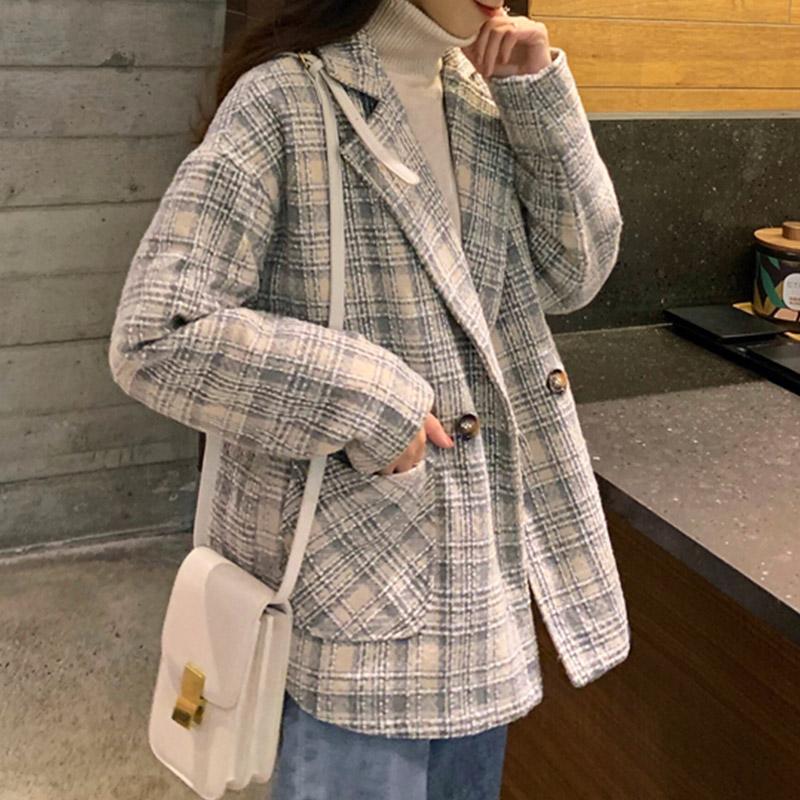 ★秋冬現貨★格紋毛呢鋪棉西裝外套-eFashion【N16512097】