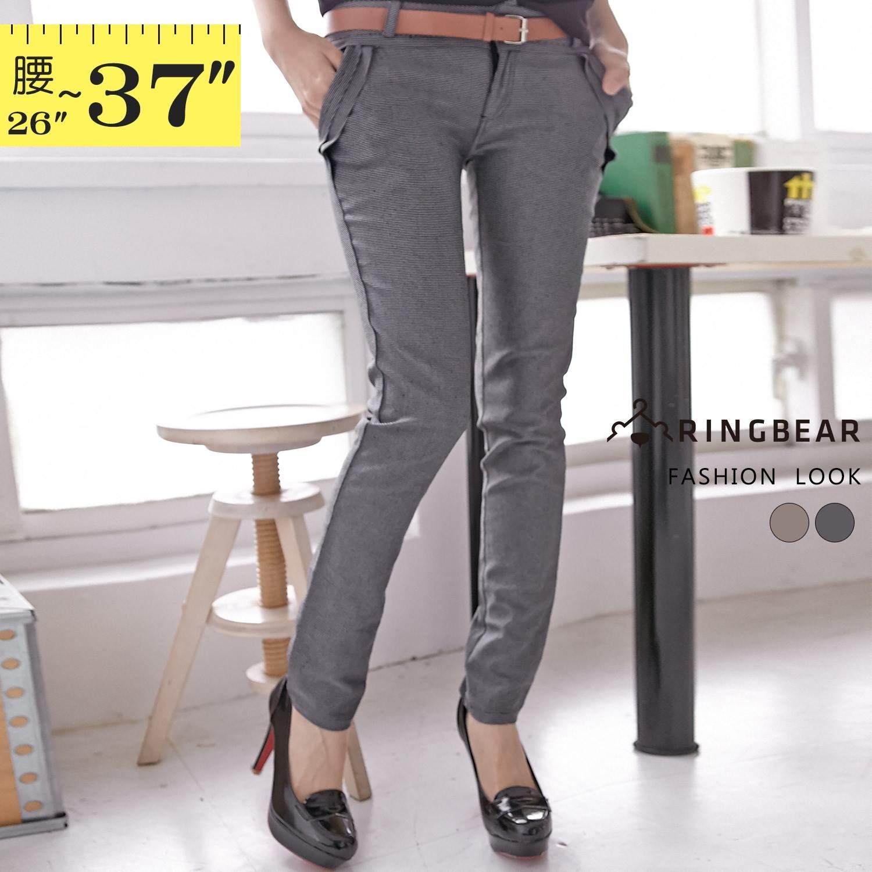 窄管褲--修身經典細格紋壓摺立體感口袋提臀剪裁直筒長褲(灰.咖M-6L)-P65眼圈熊中大尺碼