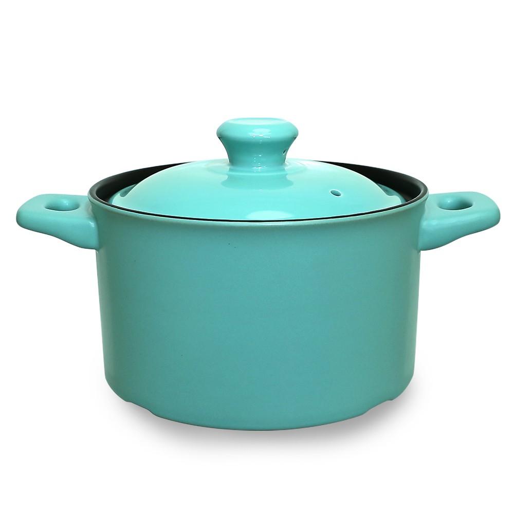 【西華SILWA】英倫簡約耐熱瓷湯鍋2.5L/3.5L-湖綠