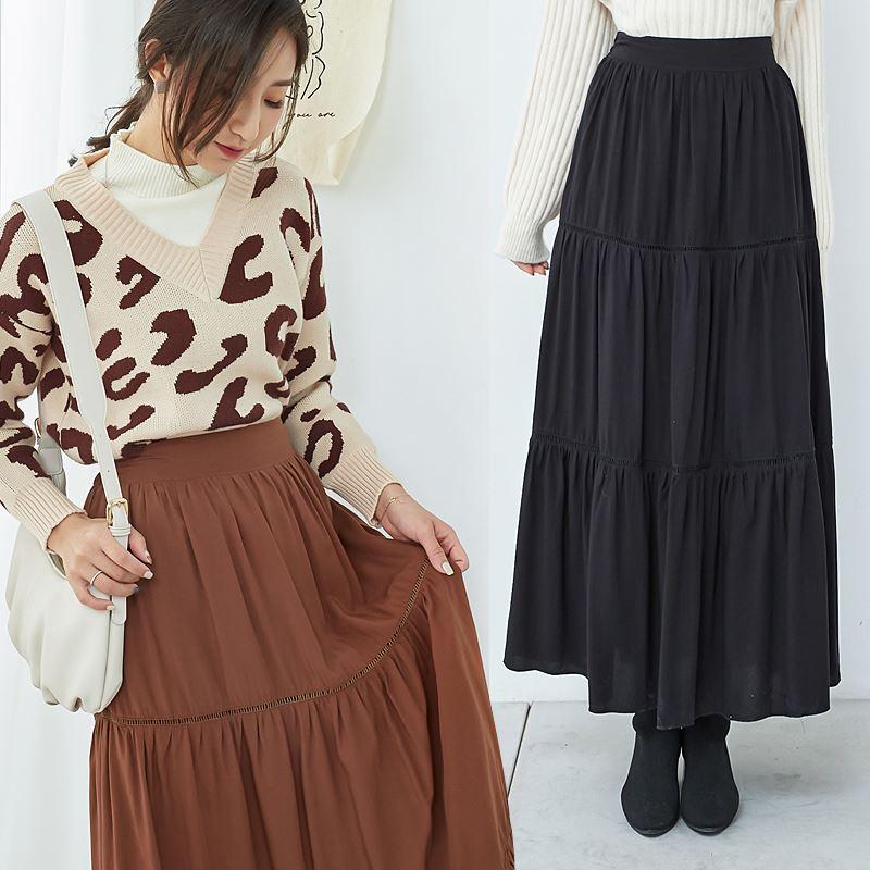 ★秋冬現貨★後鬆緊微鏤織蛋糕裙-eFashion【N18991202】
