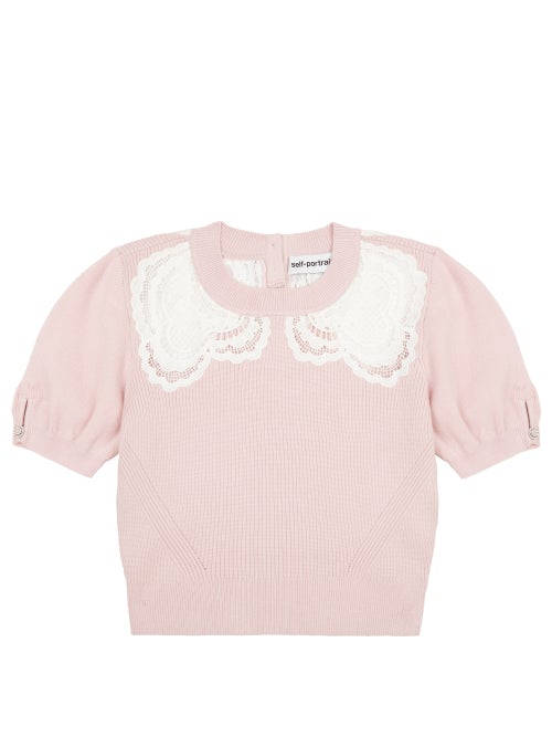 Self-portrait - Lace-insert Knitted Top - Womens - Light Pink