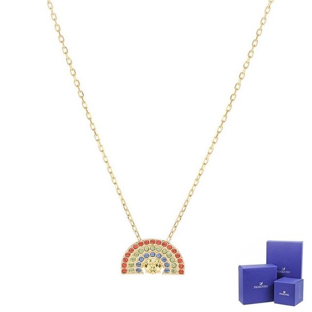 SSWAROVSKI 施華洛世奇 Sparkling Dance璀璨水晶彩虹造型金色項鍊