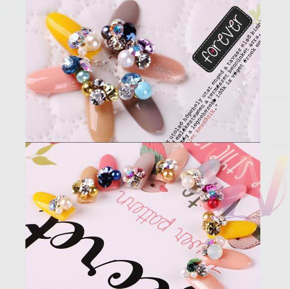 超級美 日韓 美甲閃亮 飾品  鑽石 珍珠堆鑽ab鑽 手工堆鑽合金飾品 f2-3