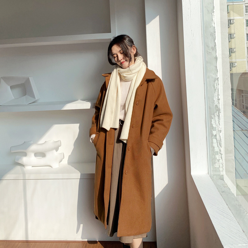 ★秋冬現貨★袖口一字帶鋪棉毛呢長版大衣外套-eFashion【N16512094】