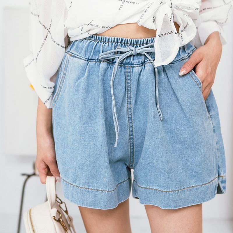 ★春夏現貨★腰抽繩倒V牛仔短褲-eFashion【M13777200】