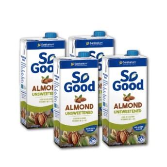 澳洲SO GOOD 杏仁奶(無糖/1000ml新鮮堅果杏仁製成,比牛奶更高鈣更低脂,乳糖不耐症都可喝(4罐669/6罐950/12罐1850)