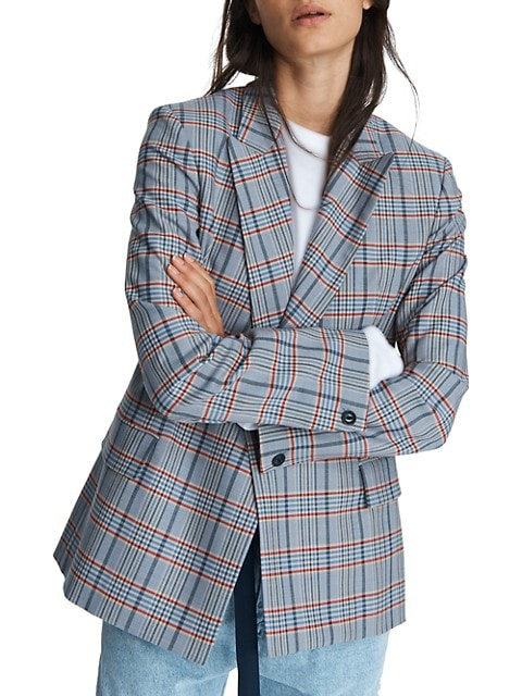 Elise Double-Breasted Check Wool-Blend Blazer