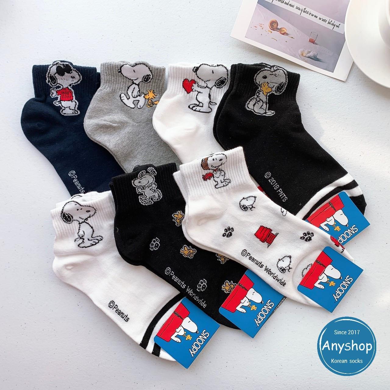 韓國襪-[Anyshop]史努比與胡士托角色滿版中筒襪
