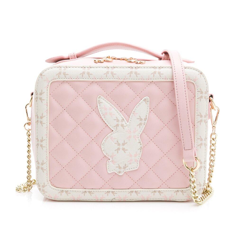 PLAYBOY- 手提斜背包 雅緻兔頭風格系列-粉色
