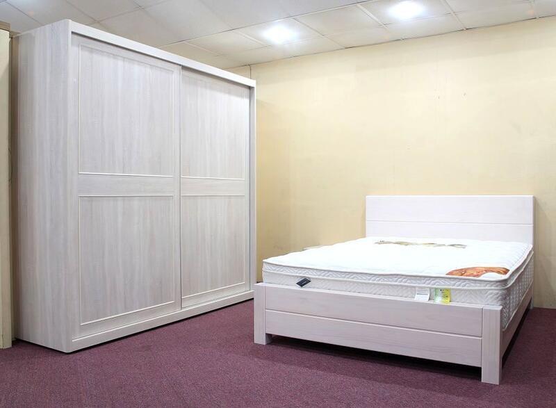 歐風別館日式簡約五尺水洗白色全實木雙人床架二另有胡桃色基隆至台中免運費