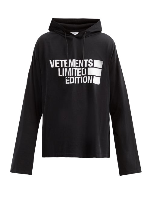 Vetements - Limited Edition Logo-print Cotton Hooded Sweater - Mens - Black