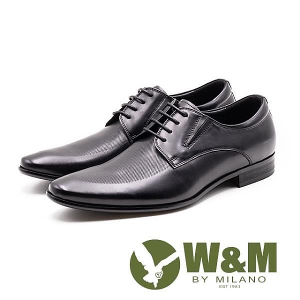 【南紡購物中心】W&M 完美菱紋 紳士綁帶德比鞋 男皮鞋 - 黑(另有咖)