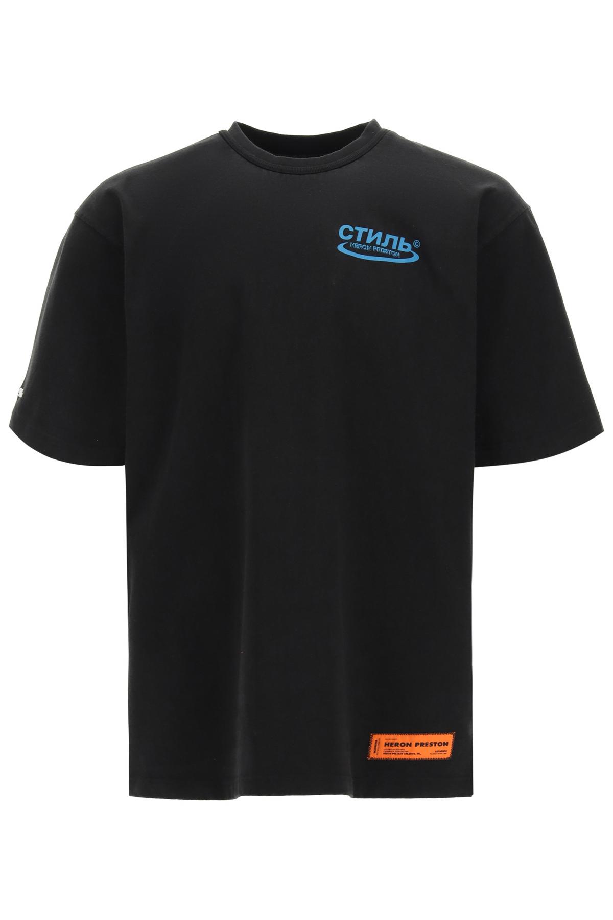 HERON PRESTON HERONS LITHO PRINT OVER T-SHIRT M Black, Blue, Orange Cotton
