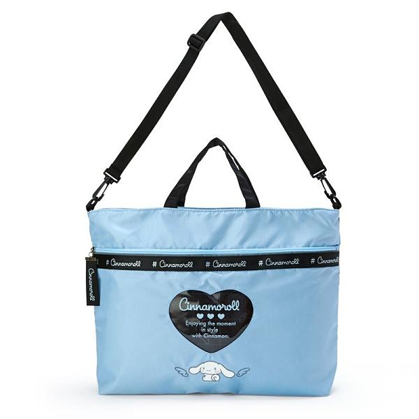 小禮堂 大耳狗 橫式雙層尼龍側背袋 防潑水側背袋 尼龍托特包 防水包 (藍 愛心框) 4550337-23015