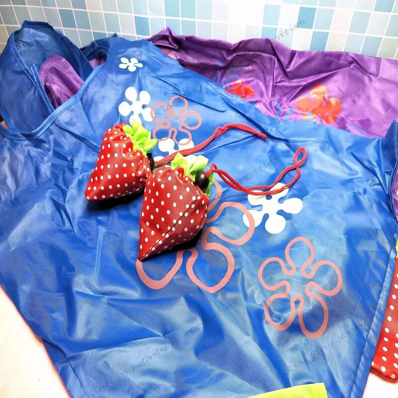 環保購物袋 可愛草莓摺疊收納 草莓袋 草莓環保袋 手提袋 束口袋【小冰生活百貨】