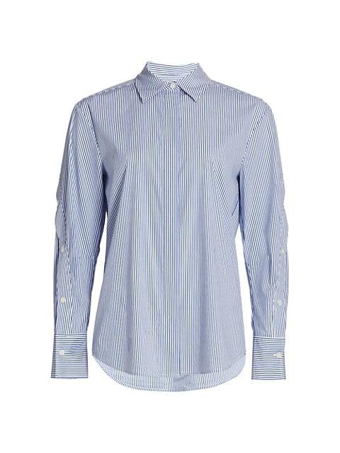 Jessie Stripe Button-Sleeve Blouse