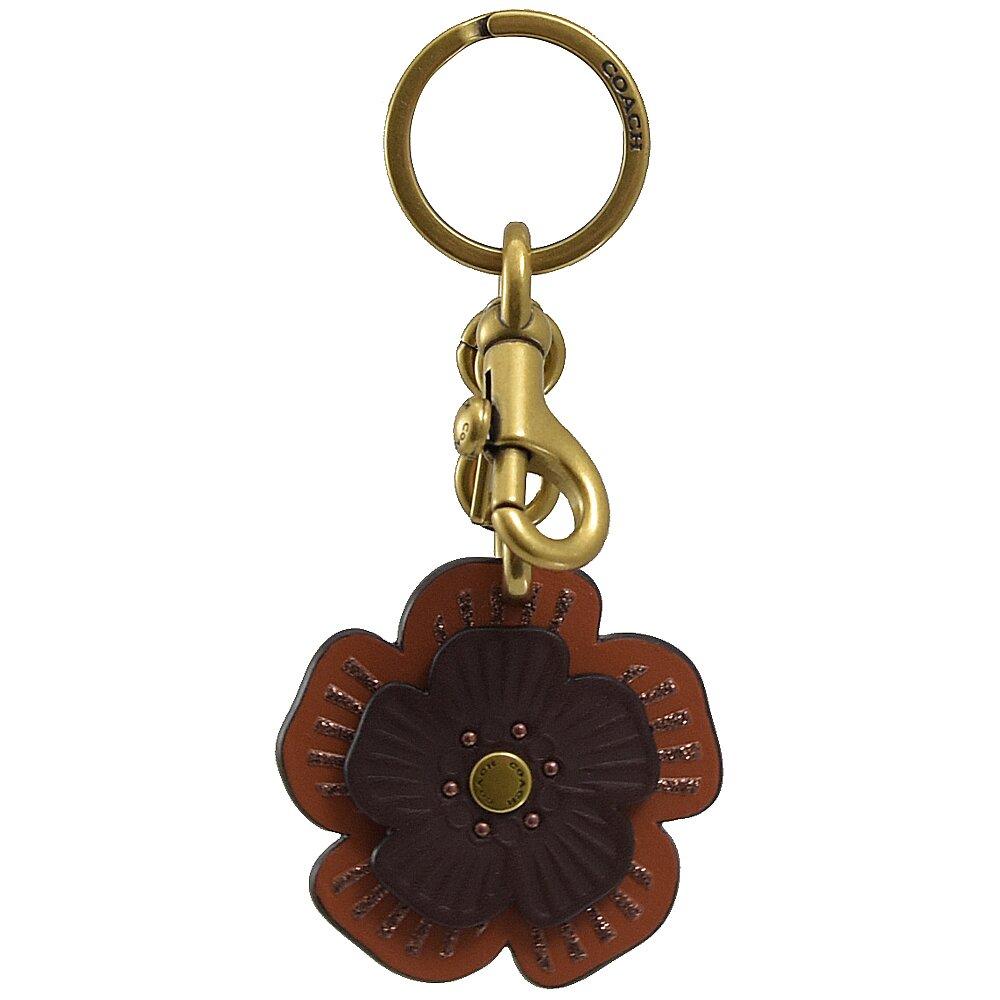 COACH 專櫃商品 89407 花朵皮革造型吊飾/鑰匙圈.咖橘