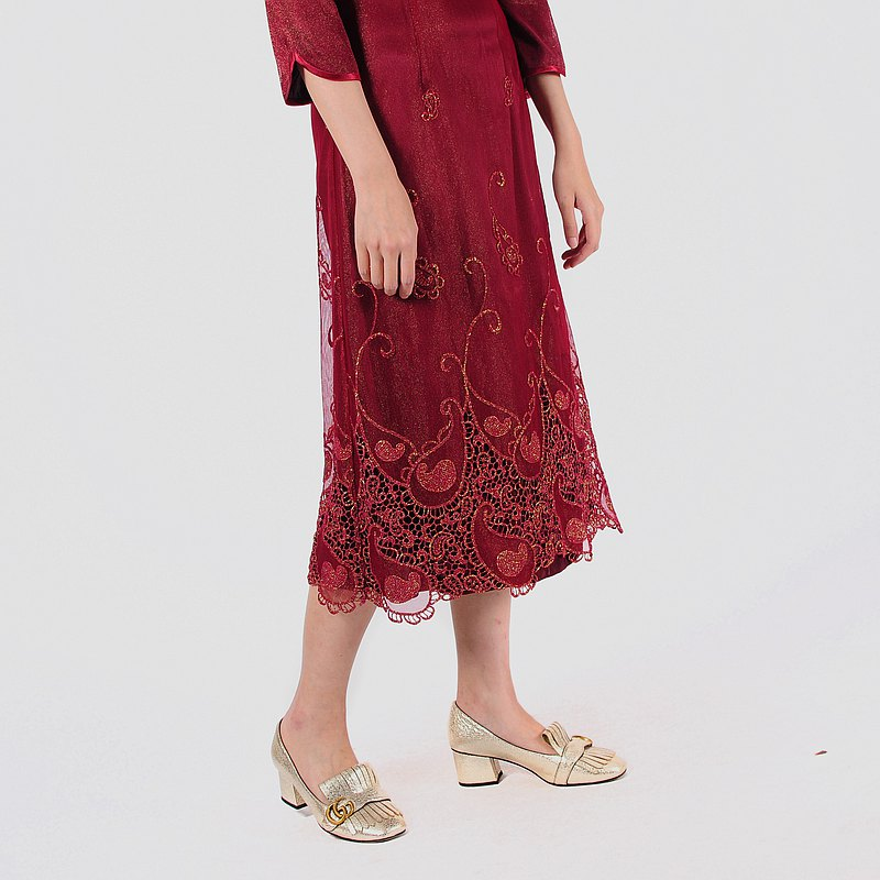 【蛋植物古著】蔓延花藤中國風古著洋裝
