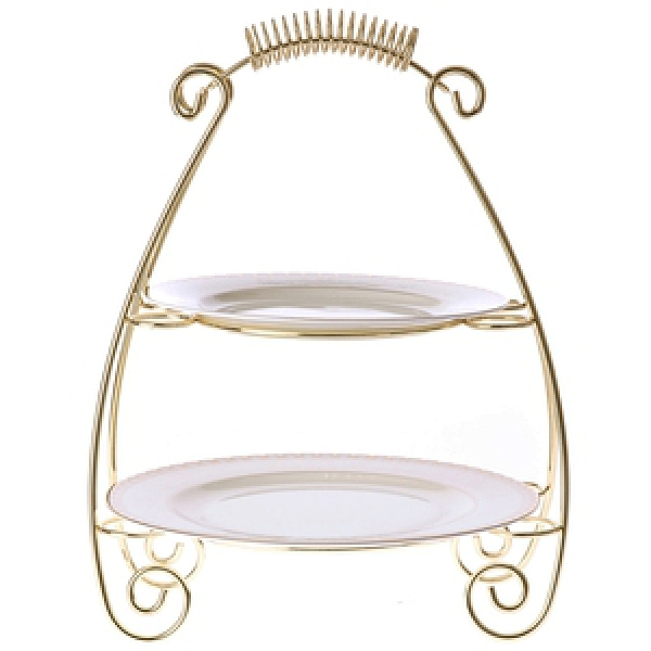御禮骨瓷系列 螺紋雙層盤架組 1金色盤架+2平盤 可適用洗(烘)碗機