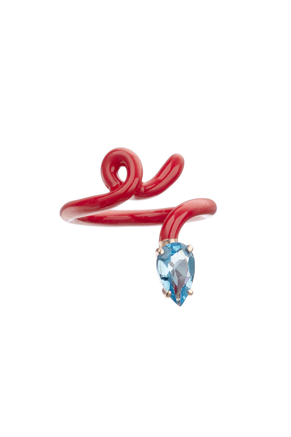 BEA BONGIASCA BABY VINE TENDRIL TOPAZ RING 14 Red, Light blue