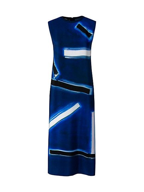 Silk Crêpe Blue Angel-Print Long Knit Tunic Top