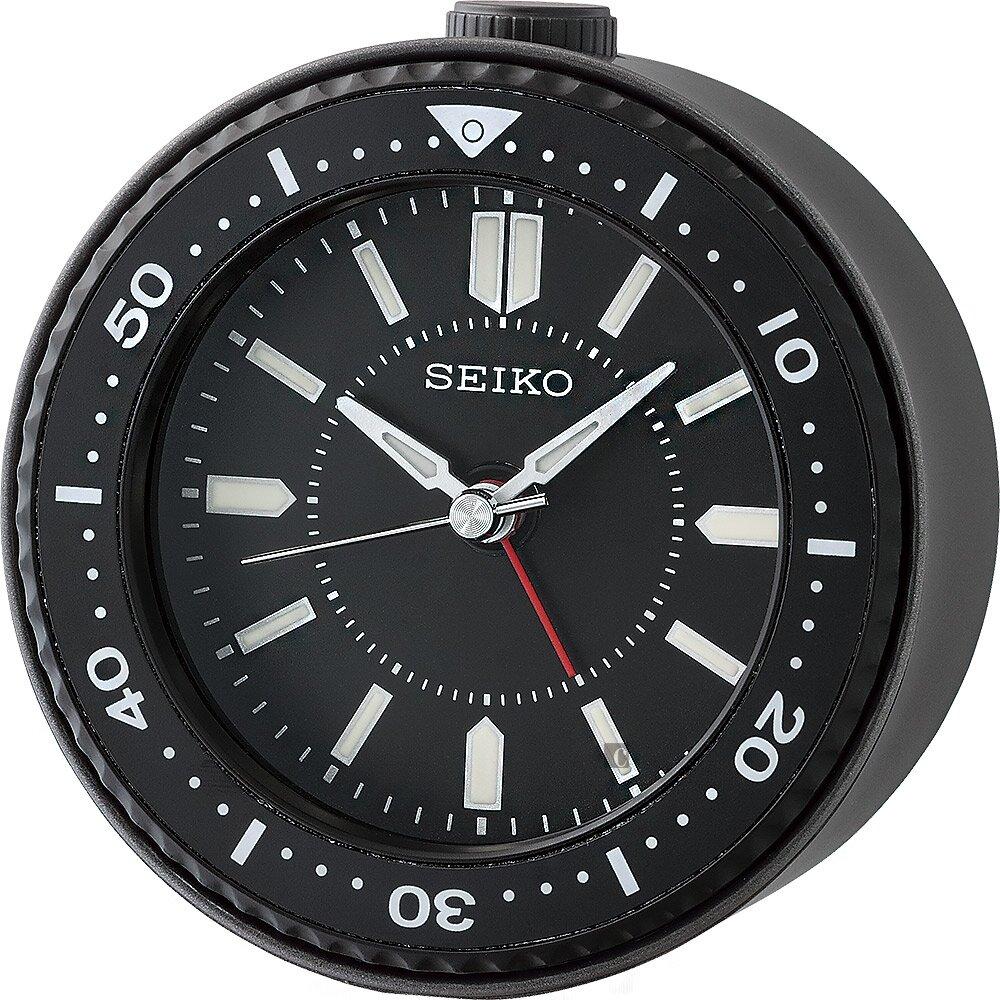 SEIKO 精工 潛水錶圈造型鬧鐘(QHE184K)-黑