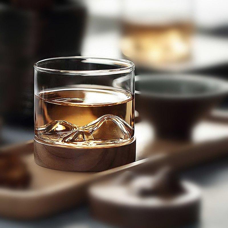 手工吹製富士山威士忌杯附實木杯墊 酒杯原木刻字客製化禮物