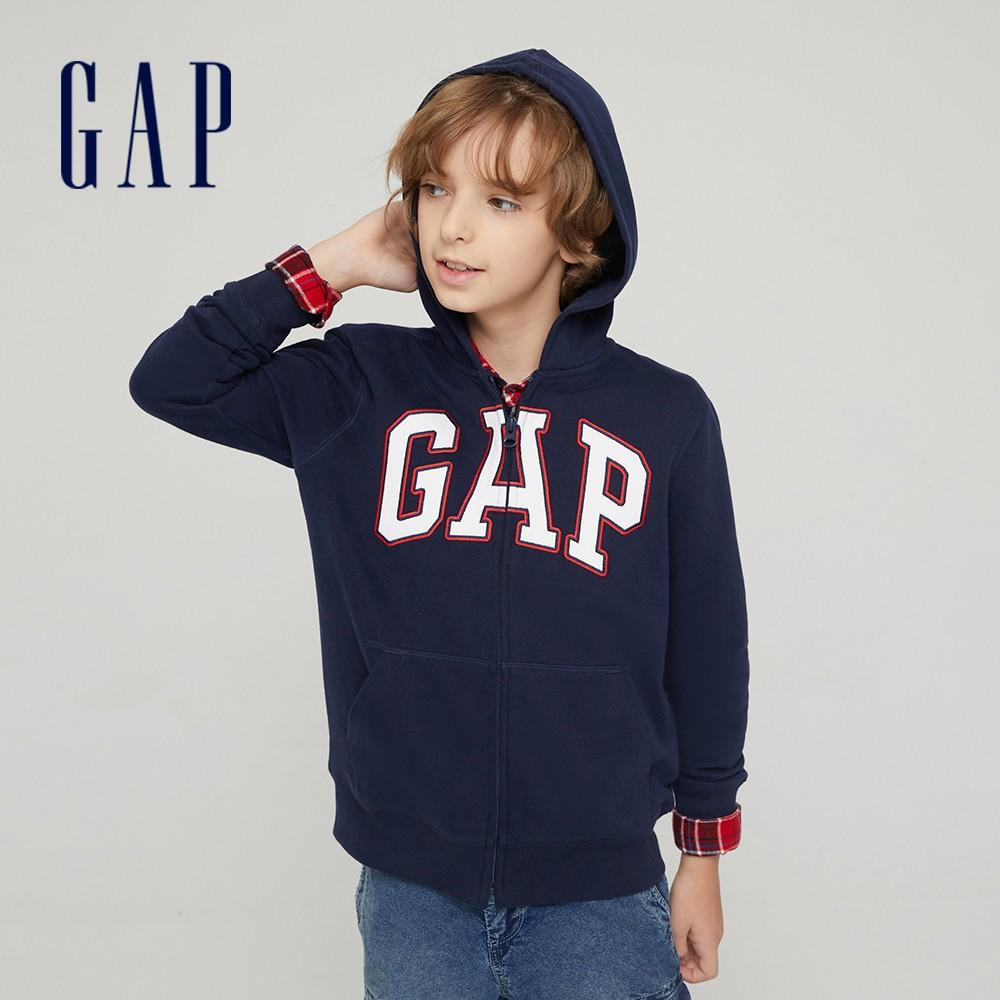 Gap 男童 Logo碳素軟磨開襟連帽外套 762922-海軍藍